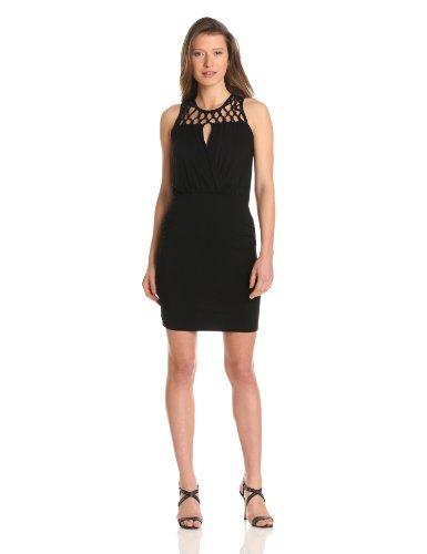 - Design History Women's Macrame Yoke Stretch Jersey Dress, Black, Small