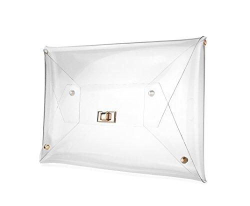 Hoxis PVC Clear Envelope Clutch Transparent Chain Crossbody Shoulder Bag Women's Purse Large Size (Clear)