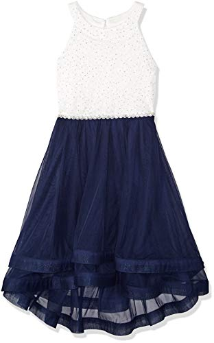 - Speechless Girls' Big 7-16 Tween Sparkle Waist Party Dress with Wide Ribbon Hem, Navy Ivory, 18.5
