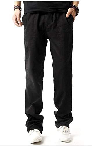 Bolsillos De Pantalones Lino Basicas Casuales Hombres Los Negro Cintura Con Targogo Elástica 6FRnqxwn