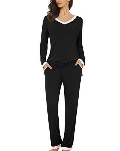 Suzicca Women's Pajamas Long Set Loungewear Long Sleeve Sleepwear V-Neck PJS Set Black Medium -