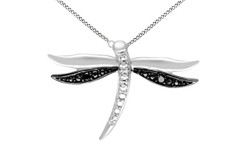 Jewel Zone US Black Natural Diamond Accent Dragonfly Pendant Necklace in 14K Two Tone White Gold Over Sterling Silver