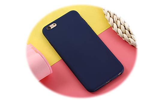 Matte Phone Case for iPhone 6s Plus 6 7 8 5 5s SE for iPhone Xs MAX X XR Simple Solid Soft TPU Cases Back Cover,Navy Blue,for i6Plus 6sPlus