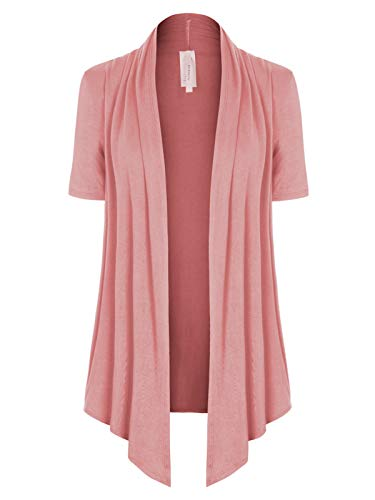 MixMatchy Women's [Made in USA] Solid Jersey Knit Short Sleeve Open Front Draped Cardigan (S-3XL) Dusty Pink M