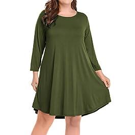 Women's Casual Flare Plain Simple 3/4 Sleeve T-Shirt Loose Dress