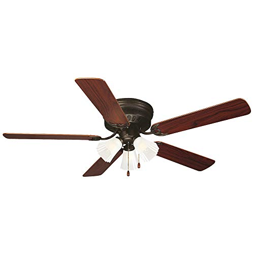 Design House 153411 Flush Mount, 5 Dark Mahogany/Light Maple Blades Ceiling fan with 50 watts light, Oil-rubbed Bronze ()