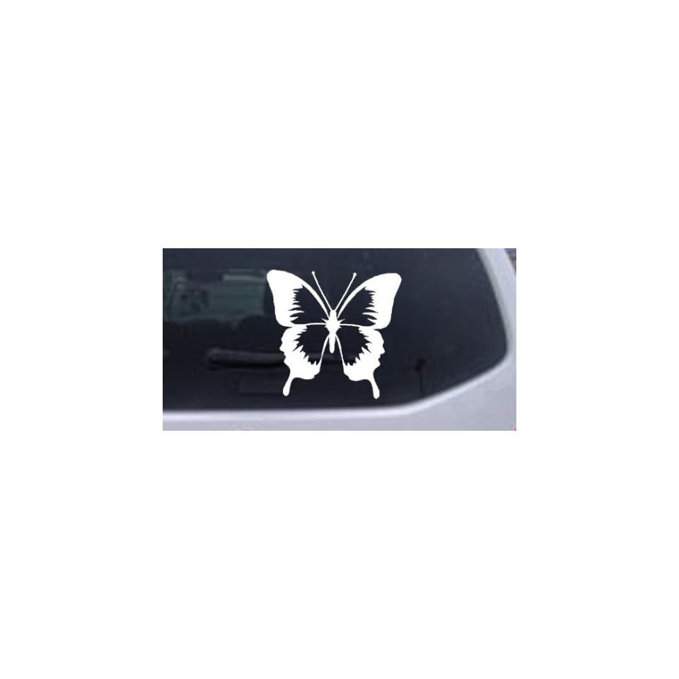 Butterfly Butterflies Car Window Wall Laptop Decal Sticker    White 6in X 6.3in