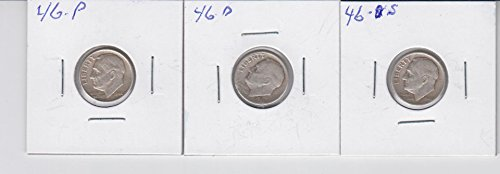 1946 P D S Roosevelt Silver Dimes (3) Coins, All Three Mints- Circulated Very Good