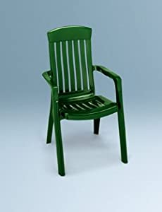 SET 2 GARDEN ARM CHAIRS IN GREEN. HIGH BACK STACKABLE RESIN PATIO FURNITURE.