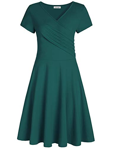 Pintage Women's Surplice V Neck Knee Length Wrap Dress 4X Pine Green
