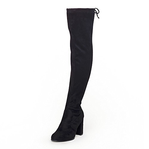 [SheSole Womens Faux Suede Thigh High Boots Over The Knee Block Chunky Heel Stretch Size Black US 11] (Autum Fairy Costumes)