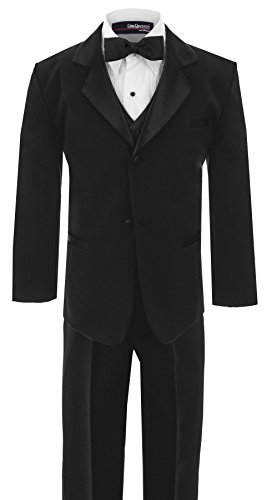 Lined Satin Suit - Little Boy's Usher Tuxedo Suit No Tail G210 (7, Black)