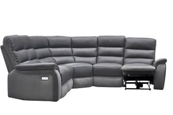 Canapé angle relax électrique WELTON Cuir Gris F microis clair