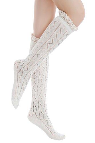 ICONOFLASH Womens Zig Zag Lace Trim Knee High Boot Socks, Size 9-11 Ivory