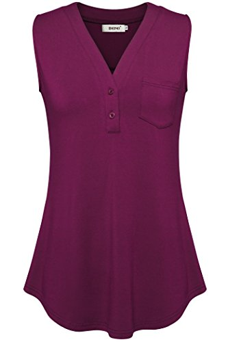 Summer Tops for Women,Bepei Sleeveless V Neck Blouse Fit and Flare Tank Purple L