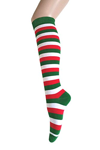 Triple M Plus Knee High Zebra Stripes Socks,Green/Red/White -