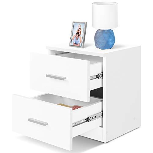 COMIFORT Mesa de Noche - Mesita Auxiliar para el Dormitorio de Estilo Nordico, Moderna y Minimalista, con 2 Espaciosos Cajones, Muy Resistente, de Color Blanco