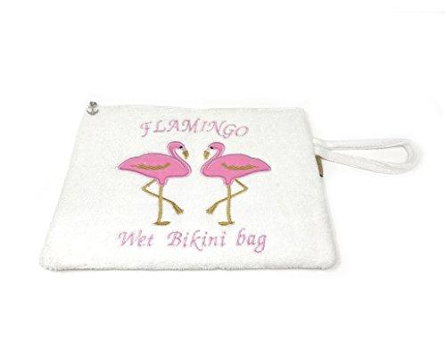 Knitting Factory Wet Swimsuit Bag, Wet Bikini Bag, Water-Resistant Wet Bag with Waterproof, Eco-Friendly Cotton Towel Beach Tote, Pool Bag, Luggage (Flamingo- ()