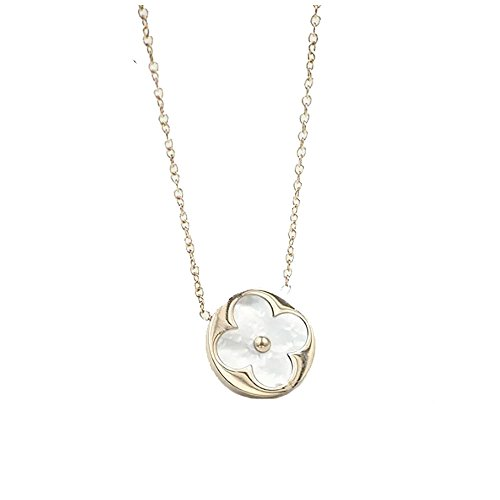 Baoli White Shell Rose Gold Round Clover Women