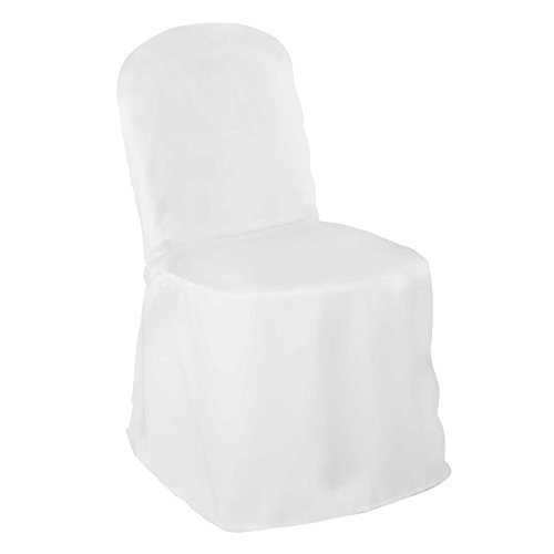 Lanns Linens 100 Elegant Wedding/Party Banquet Chair Covers - Polyester Cloth - White