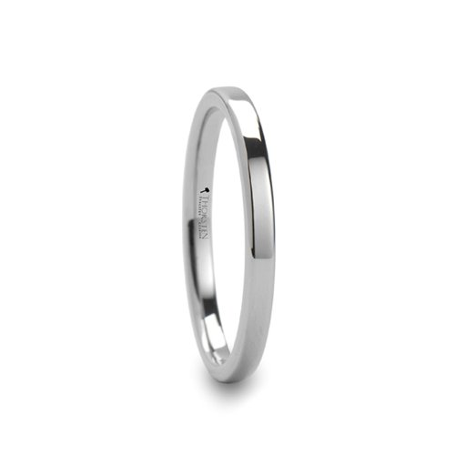 MESA 2mm wide Flat Style White Tungsten Ring for Women - FREE Engraving, FREE Expedited Shipping & FREE by Thorsten Rings