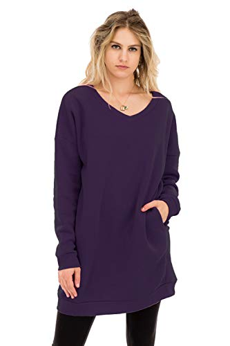 (Women's Casual Loose Fit Long Sleeves Over-Sized Sweatshirts Dark Purple)