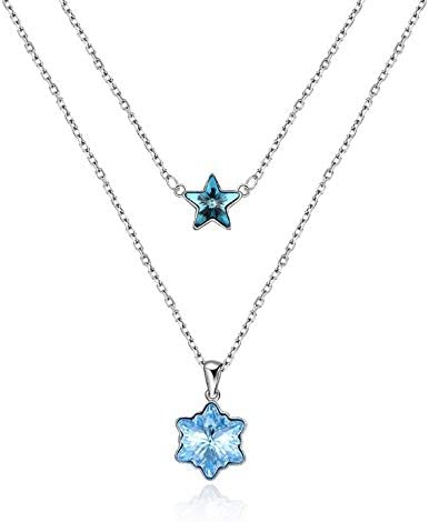 LEKANI Collier étoile flocon de neige pour femme cristal Swarovski ...