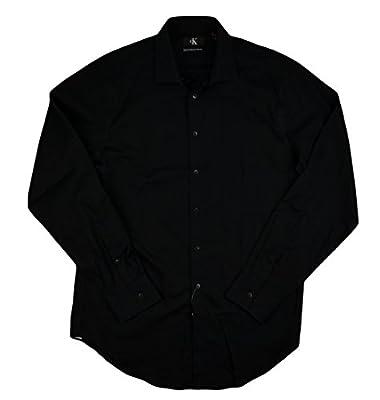 Calvin Klein Mens Dress Shirt Slim Fit Non Iron Stretch Black