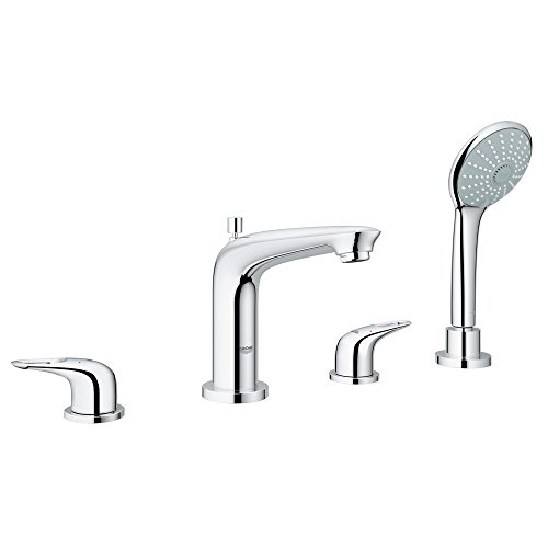 Eurostyle Roman Tub Filler with Personal Hand Shower in StarLight Chrome ()