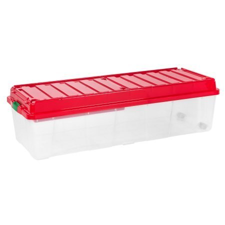 IRIS Holiday Tree Storage Tote with Compartment Lid, Red by IRIS.