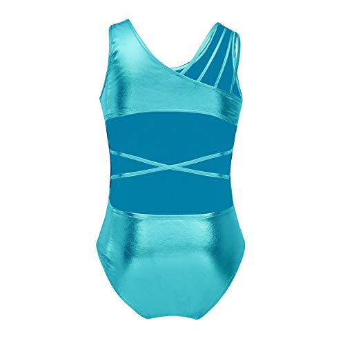 (inlzdz Girls Metallic Criss Cross Backless One-Piece Gymnastics Leotard Tank Athletic Unitard Dance Costume Lake Blue 8-10)