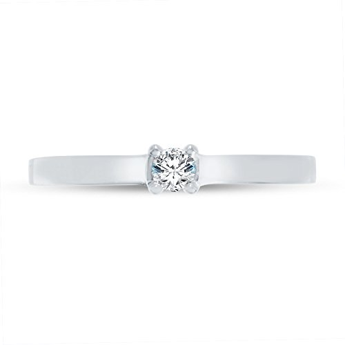 Size - 6.5 - Solid 14k White Gold Round Cut Flat Band Petite Solitaire Engagement Ring CZ Cubic Zirconia (1/4 cttw., 0.25ct. (0.25 Ct Center)