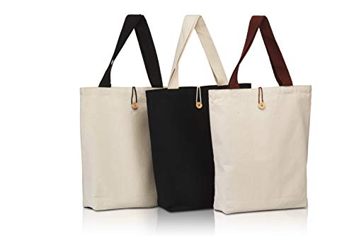 Canvas Craft Tote Bags (3 Pack) for Crafts, Gift Bags, Wedding Favors Bags, Welcome Bags, Goody Bags, Lunch Bags - Men Women Kids (Front Button Style)