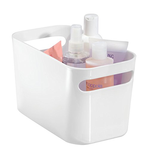 mDesign Bathroom Under Vanity Cabinet Organizer Bin for Beauty Products, Lotion, Perfume - Pack of 2, White