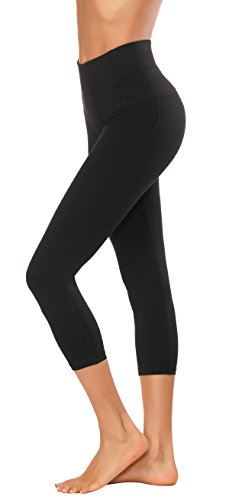 X-Fit Sports Women High Waisted Yoga Pants - Running Workout Legging with Hidden Pocket,Non See-Through(Black-Capri,S)]()