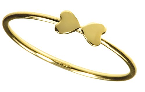uGems 14K Gold Filled Double Heart Stacking Rings Size 6 by uGems