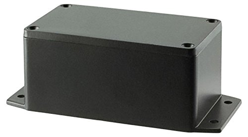 BUD Industries AN-2853-AB Black Powder Coated IP68 Aluminum 4.53x2.56x2.17 enclosure with molded in mounting brackets