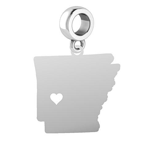 (Arkansas Charm | Arkansas Silhouette Charm | Fits All Bead Style Charm Bracelets | Sterling Silver)