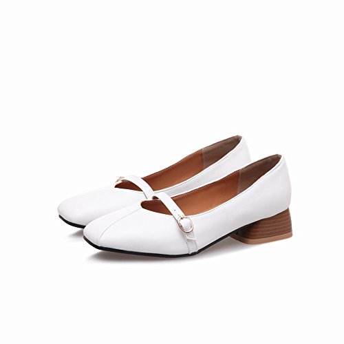 Carolbar Women's Concise Solid Color Mid Heel Square Toe Court Shoes White gnLA4Jn