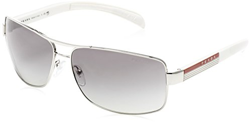 Prada Sport 54IS 1BC3M1 Silver 54IS Square Sunglasses Lens Category - Sunglasses Prada Linea Rossa
