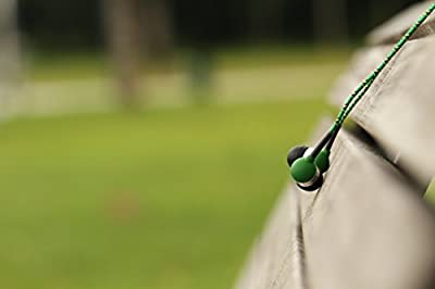 Tweedz Green Earbuds - In Ear Headphones with 100% Braided Fabric Wrapped Durable Cords