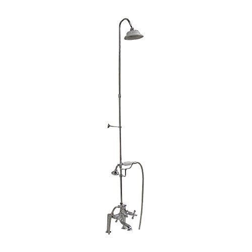 4062-MC-BN Elephant Spout Riser Shower head Cross Handles Brushed Nickel