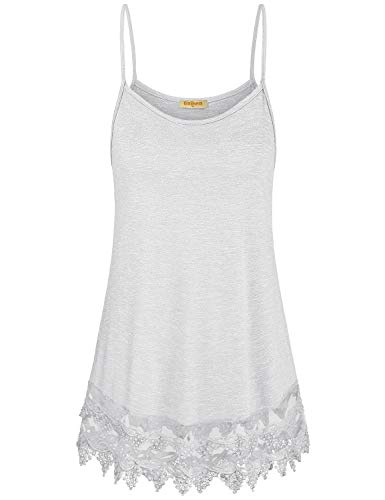 Baikea Spaghetti Strap Tank Top,Womens White Cami Active Basic Solid Tanks Crew Neck Sleeveless Shirts Hemline Embellish with Lace Relaxed Fit Sexy Elegant Blouse L ()