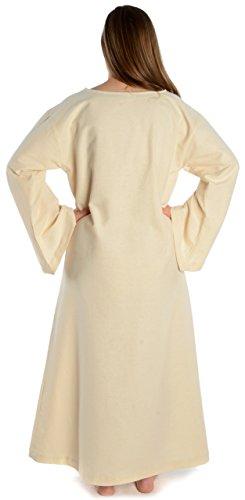 XL Skapulier S Beige HEMAD mit reine naturbeige Blau Leinenstruktur Damen Mittelalter Kleid Baumwolle mit n0f0wZq6