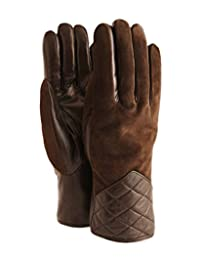 Ricardo B.H. Women's Sheepskin Quilted Glove - Suede (Brown, Small)