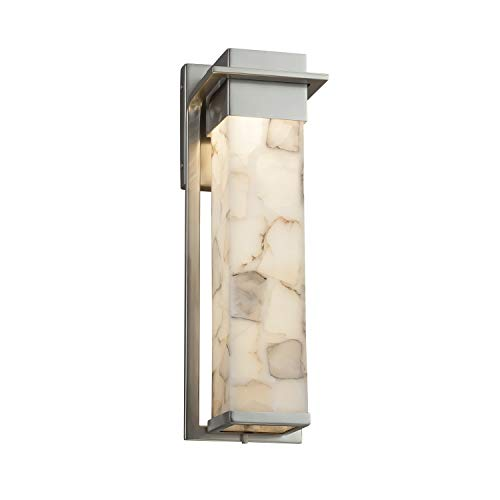 Alabaster Rocks! - Pacific Large LED Outdoor Wall Sconce with Alabaster Rocks Shade - Brushed Nickel Finish