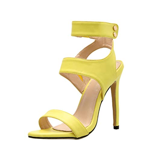 Midress Women's Pointed Toe Stiletto High Heel Strapy Sandals Summer Casual Fluorescent Sandals Solid Color High Heels Shoes