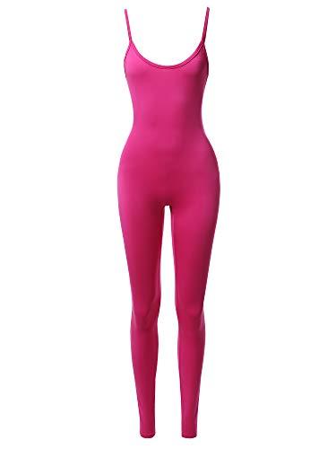 Fuchsia Piece One - Solid Neon Stretch Sleeveless One Piece Jumpsuit Bodysuit Fuchsia S