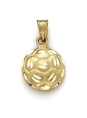 JewelryWeb 14 carats-Pendentif en forme de ballon de football