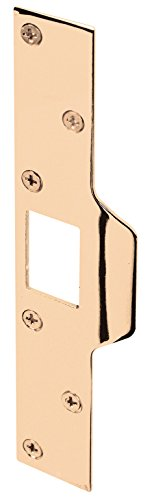 Door Security Plate (Prime-Line Products U 9426 Maximum Security Latch Strike, 1-1/4 in. x 7-7/8 in., Steel, Brass)